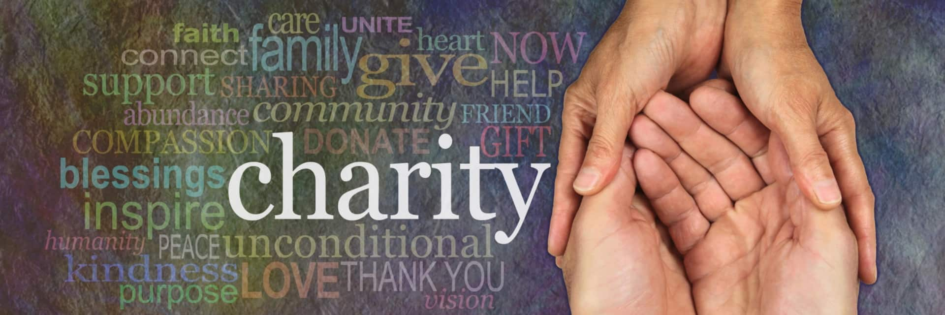 Graphic image featuring words about charitable giving.