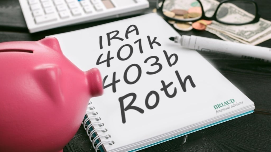 Photo illustration of a piggy bank with a notepad and pen. On the notepad it reads: IRA, 401(k), 403(b) and Roth IRA