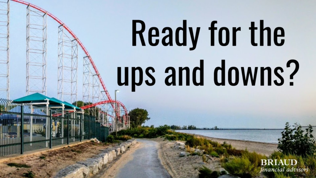 graphic of roller coaster to go with story about volatility in the stock market. Text: Ready for the ups and downs