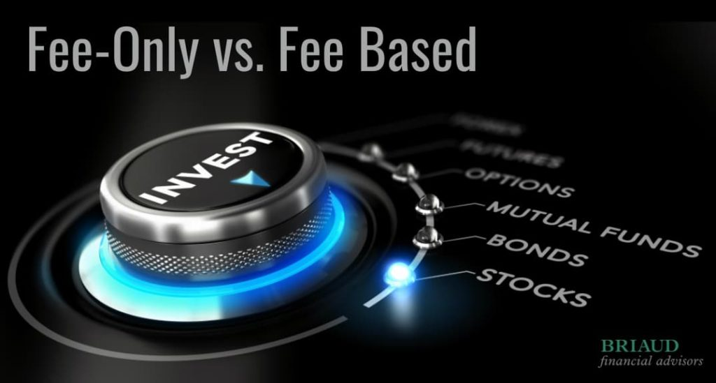 """""""Fee-Only vs Fee Based"""" graphic showing a dial point to different investments"""