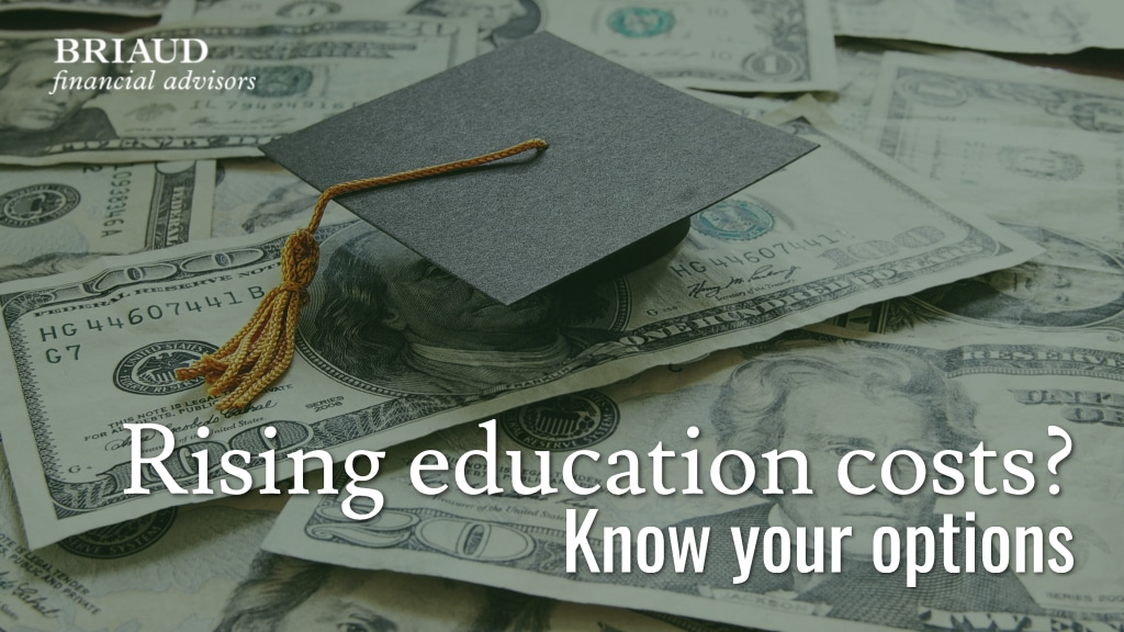 Graphic featuring a graduation cap on top of U.S. currency for a post about rising tuition costs