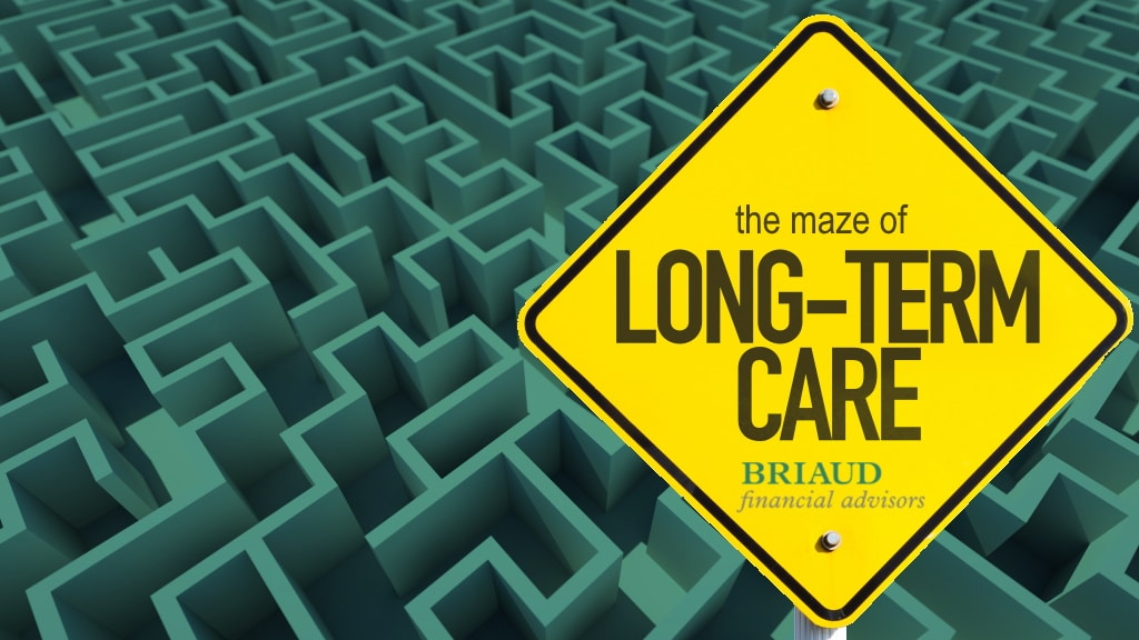 """graphic of a maze with a road sign that reads """"long term care"""""""