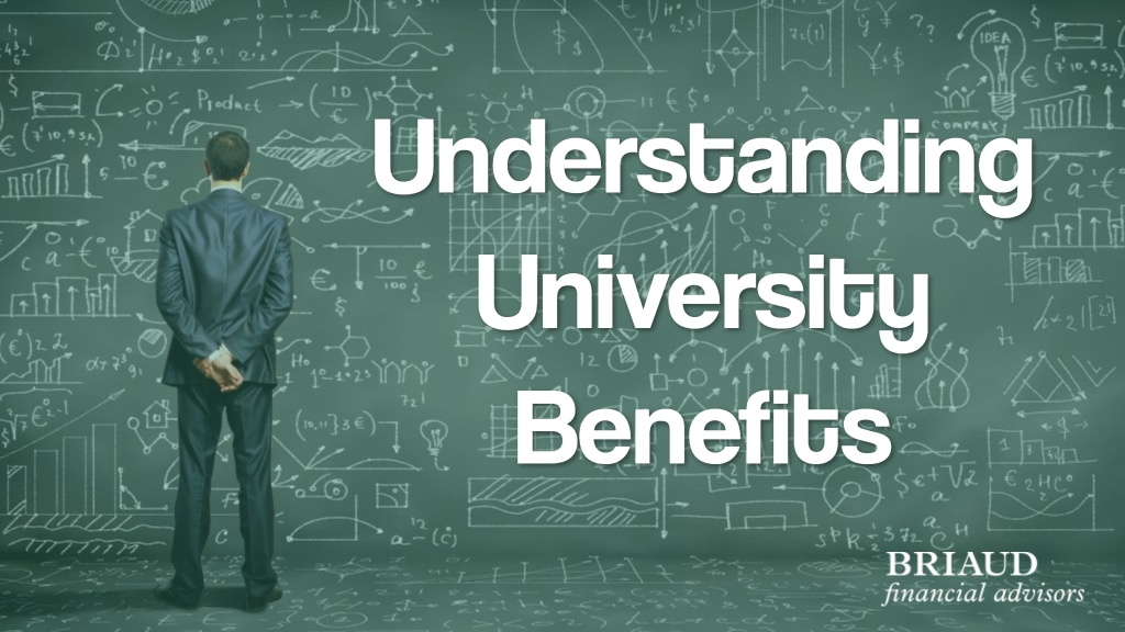 graphic of man facing a gigantic blackboard with an equation for story about university benefits